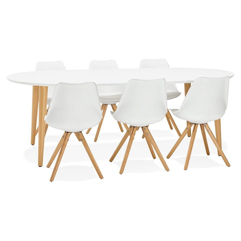 Round dining table Scandinavian to extensions (Ø 120 cm) OLIVIA (120-220 x 120 x 75 cm) wooden (matte white) - image 39623