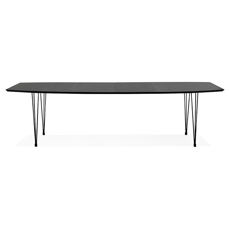 Dining table design with extensions LOANA in wood and metal (100 x 170-270 x 73 cm) (black) - image 39626