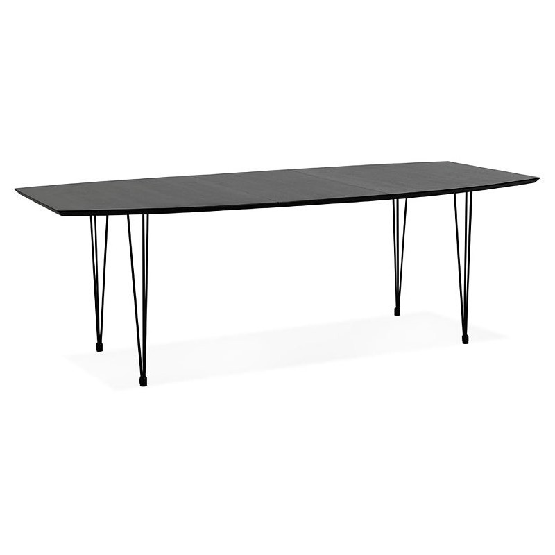 Dining table design with extensions LOANA in wood and metal (100 x 170-270 x 73 cm) (black) - image 39629
