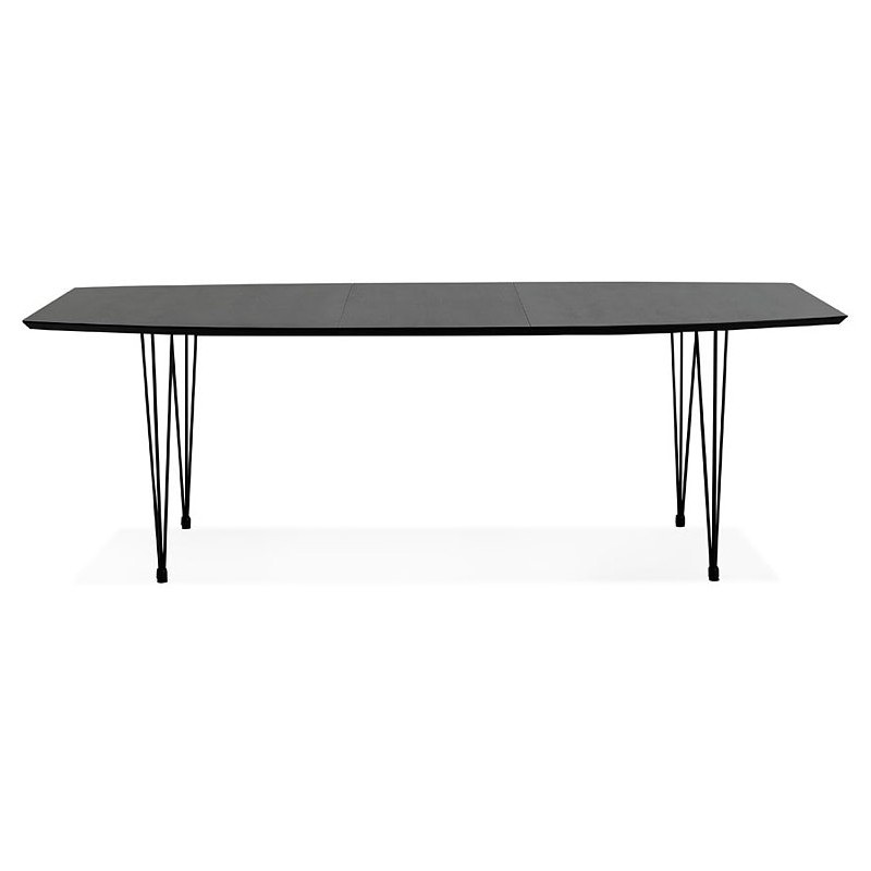 Dining table design with extensions LOANA in wood and metal (100 x 170-270 x 73 cm) (black) - image 39630