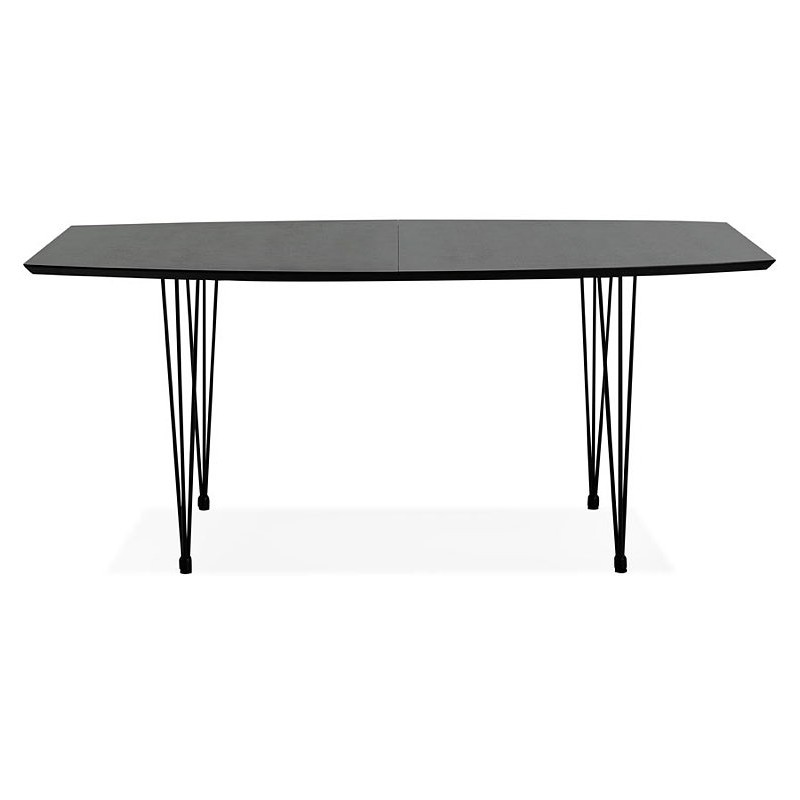Dining table design with extensions LOANA in wood and metal (100 x 170-270 x 73 cm) (black) - image 39634