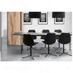 Table à manger design avec rallonges LOANA en bois et métal (100x170-270x73 cm) (noir)