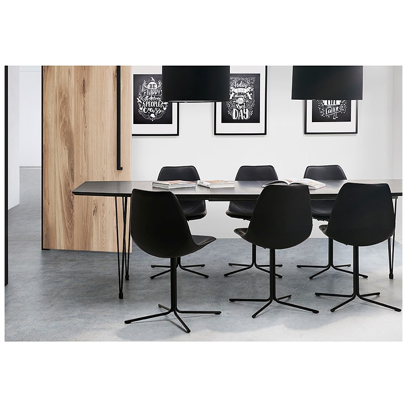 Dining table design with extensions LOANA in wood and metal (100 x 170-270 x 73 cm) (black) - image 39647