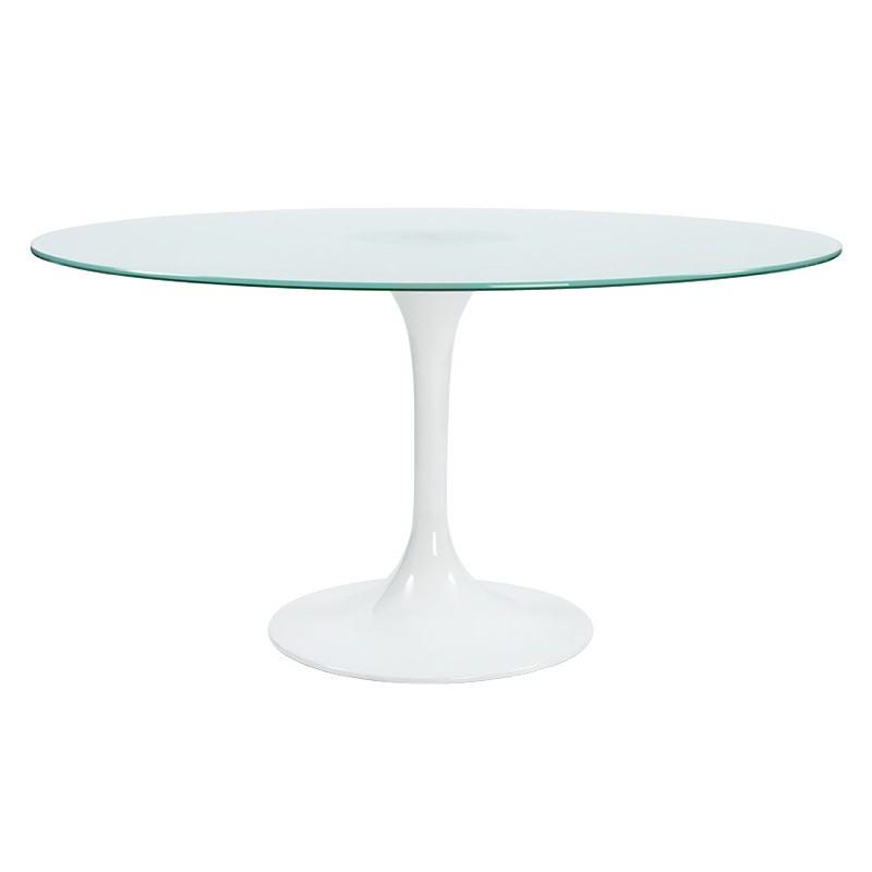 Mesa de comedor redonda (Ø 140 cm) de vidrio (blanco) diseño de ...