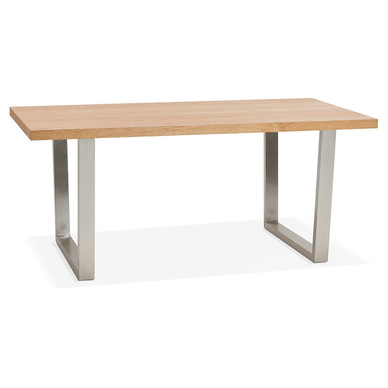 Table à manger design ou table de réunion AXELLE en bois et métal (180x90x77 cm) (naturel) - image 39654