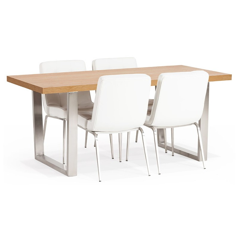 Table à manger design ou table de réunion AXELLE en bois et métal (180x90x77 cm) (naturel) - image 39664
