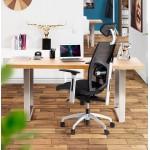 Table à manger design ou table de réunion AXELLE en bois et métal (180x90x77 cm) (naturel)