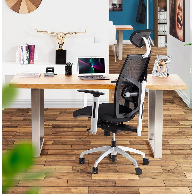 Table à manger design ou table de réunion AXELLE en bois et métal (180x90x77 cm) (naturel) - image 39669