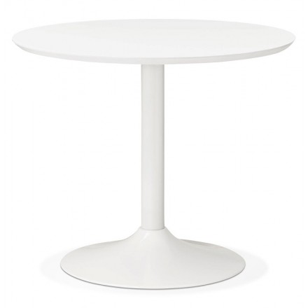 Table round dining Scandinavian design or Office MAUD in MDF and painted metal (Ø 90 cm) (white)
