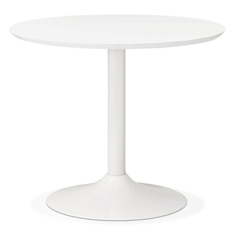 Tisch rund essen skandinavisches Design oder Büro MAUD in MDF und lackiertem Metall (Ø 90 cm) (weiß) - image 39671