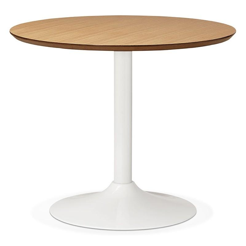 Table à manger ronde design scandinave ou bureau MAUD en MDF et métal peint (Ø 90 cm) (chêne naturel) - image 39680