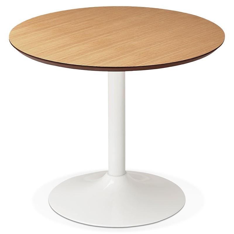 Table à manger ronde design scandinave ou bureau MAUD en MDF et métal peint (Ø 90 cm) (chêne naturel) - image 39681