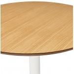 Table à manger ronde design scandinave ou bureau MAUD en MDF et métal peint (Ø 90 cm) (chêne naturel)