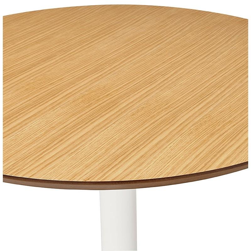 Table à manger ronde design scandinave ou bureau MAUD en MDF et métal peint (Ø 90 cm) (chêne naturel) - image 39683