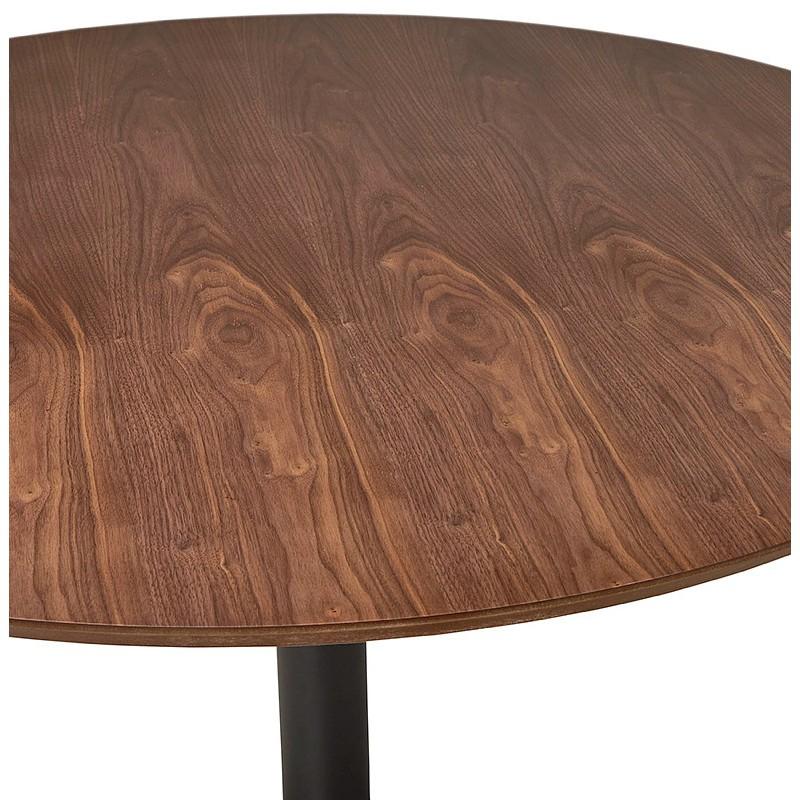 Tavolo rotondo da pranzo vintage scandinavo o ufficio MAUD in MDF e metallo verniciato (Ø 90 cm) (noce nero) - image 39692