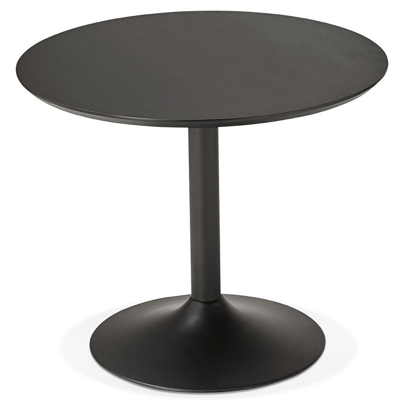 Table round dining design or Office MAUD in MDF and painted metal (Ø 90 cm) (black) - image 39699
