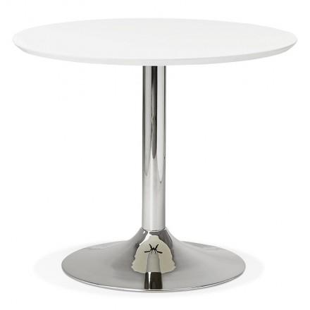 Table à manger ronde design ou bureau MAUD en MDF et métal chromé (Ø 90 cm) (blanc, chrome)
