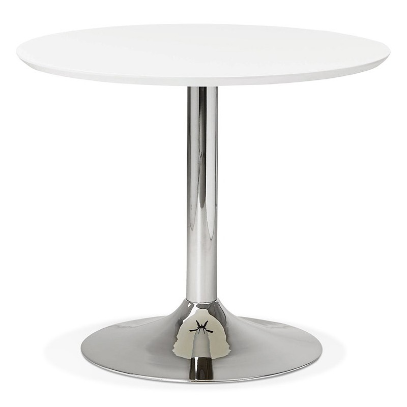 Runder Esstisch Design oder Büro MAUD in MDF und verchromtem Metall (Ø 90 cm) (weiß, Chrom)