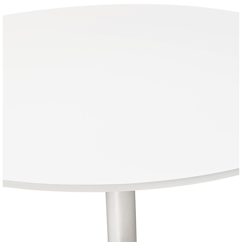 Runder Esstisch Design oder Büro MAUD in MDF und verchromtem Metall (Ø 90 cm) (weiß, Chrom) - image 39711