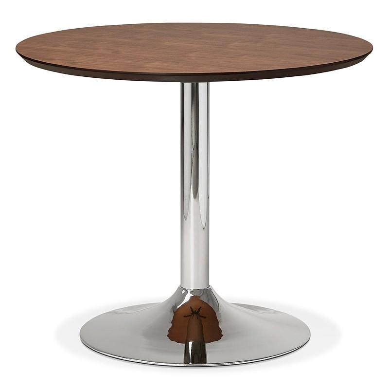 Runder Esstisch Design oder Büro MAUD in MDF und verchromtem Metall (Ø 90 cm) (Walnuss, Chrom)