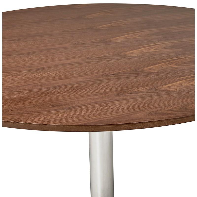 Runder Esstisch Design oder Büro MAUD in MDF und verchromtem Metall (Ø 90 cm) (Walnuss, Chrom) - image 39720