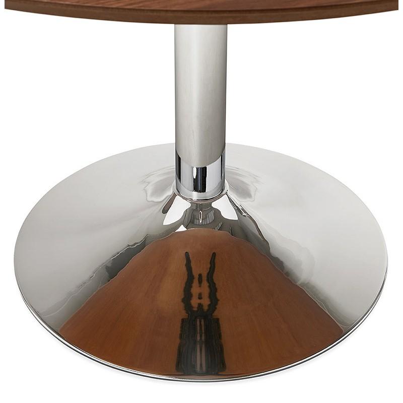 Runder Esstisch Design oder Büro MAUD in MDF und verchromtem Metall (Ø 90 cm) (Walnuss, Chrom) - image 39723
