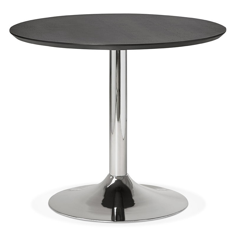 Round dining table design or Office MAUD in MDF and chromed metal (Ø 90 cm) (black, chrome) - image 39726