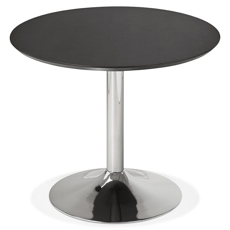 Table à manger ronde design ou bureau MAUD en MDF et métal chromé (Ø 90 cm) (noir, chrome) - image 39727