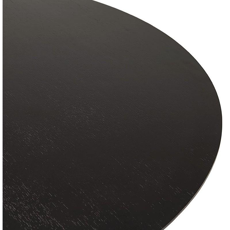 Table à manger ronde design ou bureau MAUD en MDF et métal chromé (Ø 90 cm) (noir, chrome) - image 39728