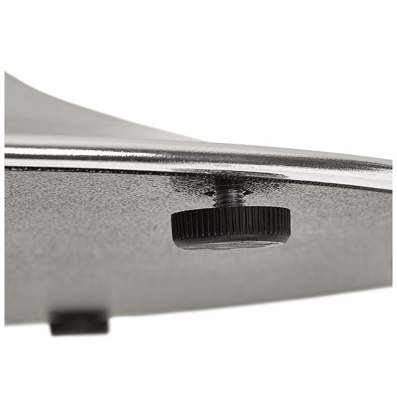 Table à manger ronde design ou bureau MAUD en MDF et métal chromé (Ø 90 cm) (noir, chrome) - image 39733