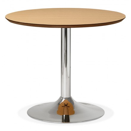 Table round dining design or Office MAUD in MDF and chromed metal (Ø 90 cm) (natural oak, chrome)