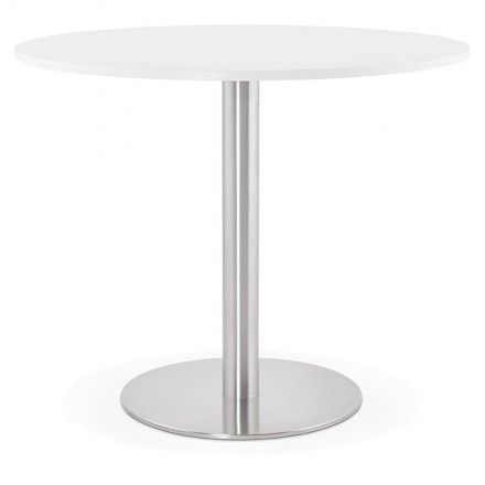 Table à manger ronde design ou bureau CARLA en bois aggloméré et métal brossé (Ø 90 cm) (blanc, acier brossé)
