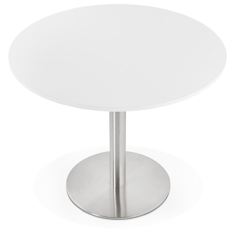 Round dining table design or Office CARLA wooden chipboard and metal brushed (O 90 cm) (white, brushed steel) - image 39746