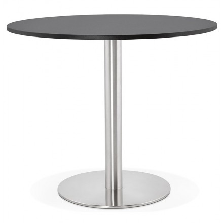 Round dining table design or Office CARLA wooden chipboard and metal brushed (O 90 cm) (black, brushed steel)