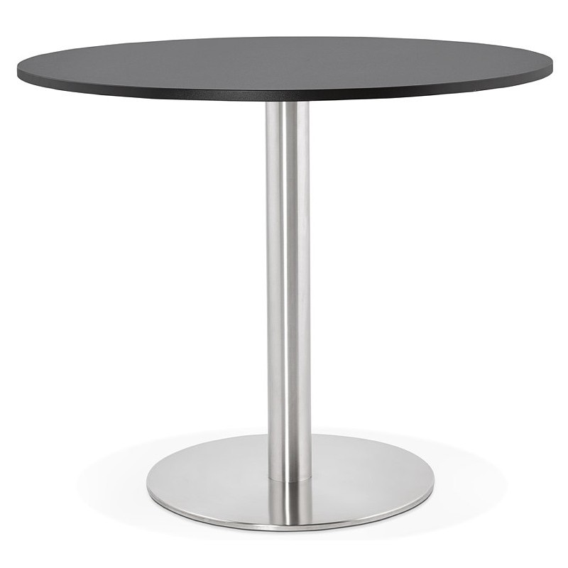 Round dining table design or Office CARLA wooden chipboard and metal brushed (O 90 cm) (black, brushed steel) - image 39753