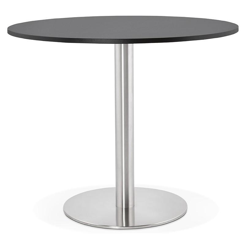 Runder Esstisch Design oder Office CARLA hölzernen Spanplatte und Metall gebürstet (O 90 cm) (schwarz, gebürstetem Stahl) - image 39753