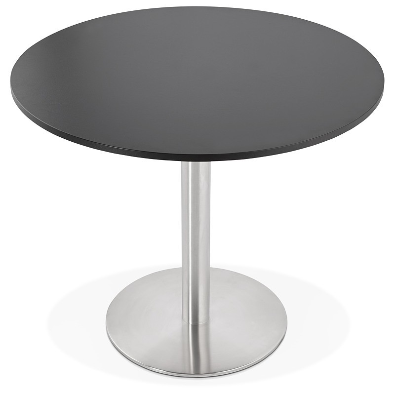 Round dining table design or Office CARLA wooden chipboard and metal brushed (O 90 cm) (black, brushed steel) - image 39755
