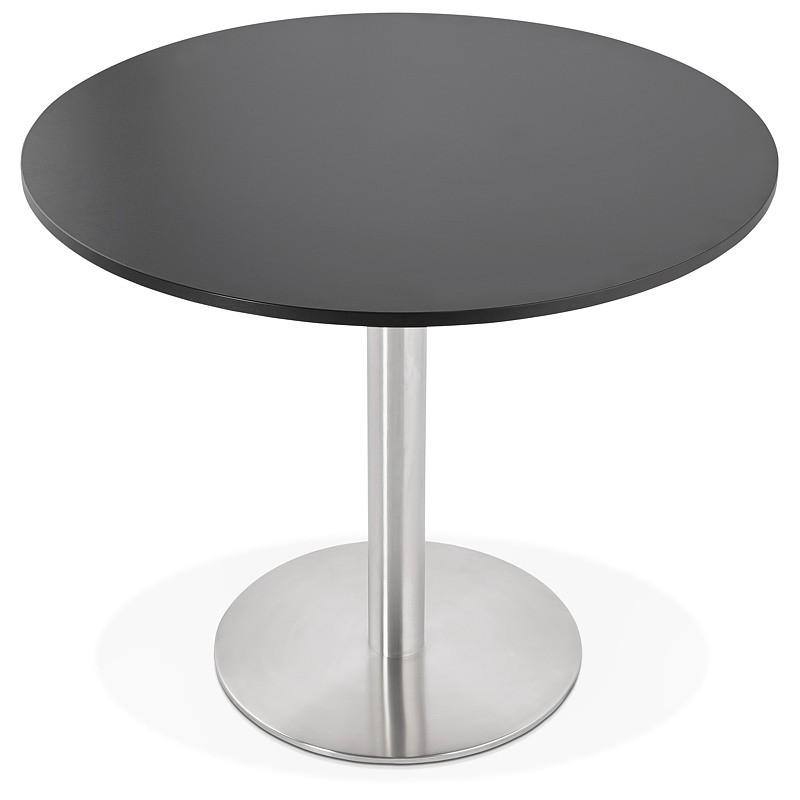Runder Esstisch Design oder Office CARLA hölzernen Spanplatte und Metall gebürstet (O 90 cm) (schwarz, gebürstetem Stahl) - image 39755