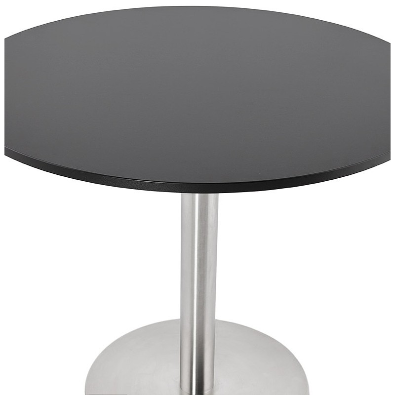 Round dining table design or Office CARLA wooden chipboard and metal brushed (O 90 cm) (black, brushed steel) - image 39756