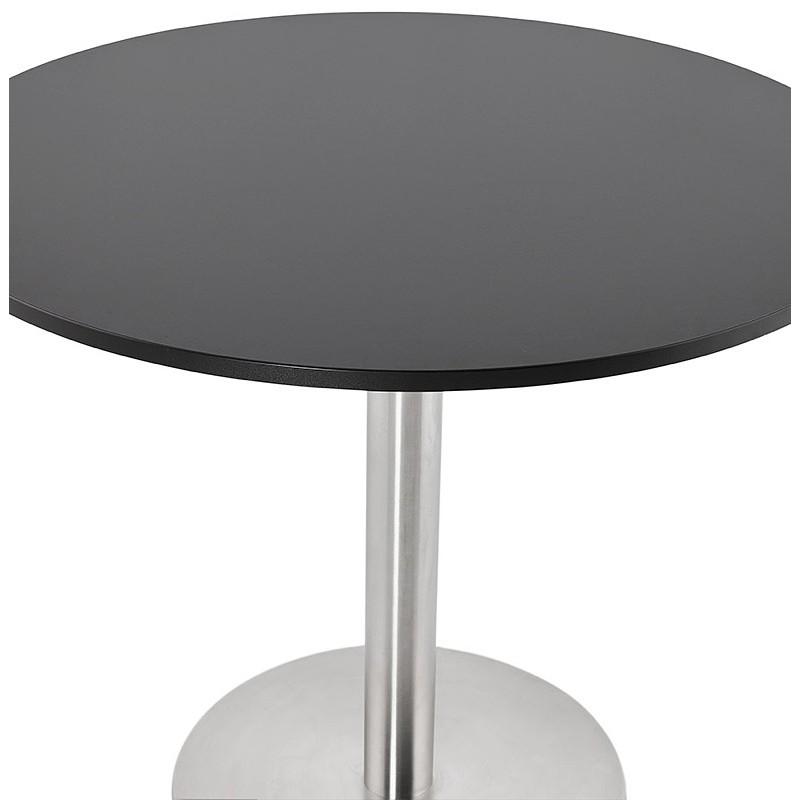 Runder Esstisch Design oder Office CARLA hölzernen Spanplatte und Metall gebürstet (O 90 cm) (schwarz, gebürstetem Stahl) - image 39756