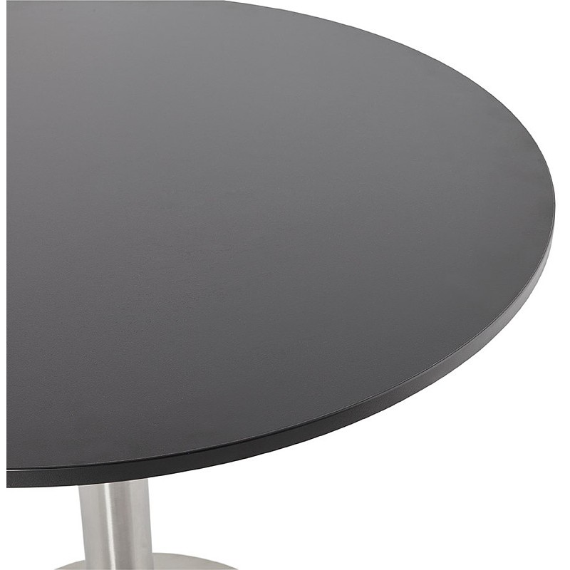 Round dining table design or Office CARLA wooden chipboard and metal brushed (O 90 cm) (black, brushed steel) - image 39757