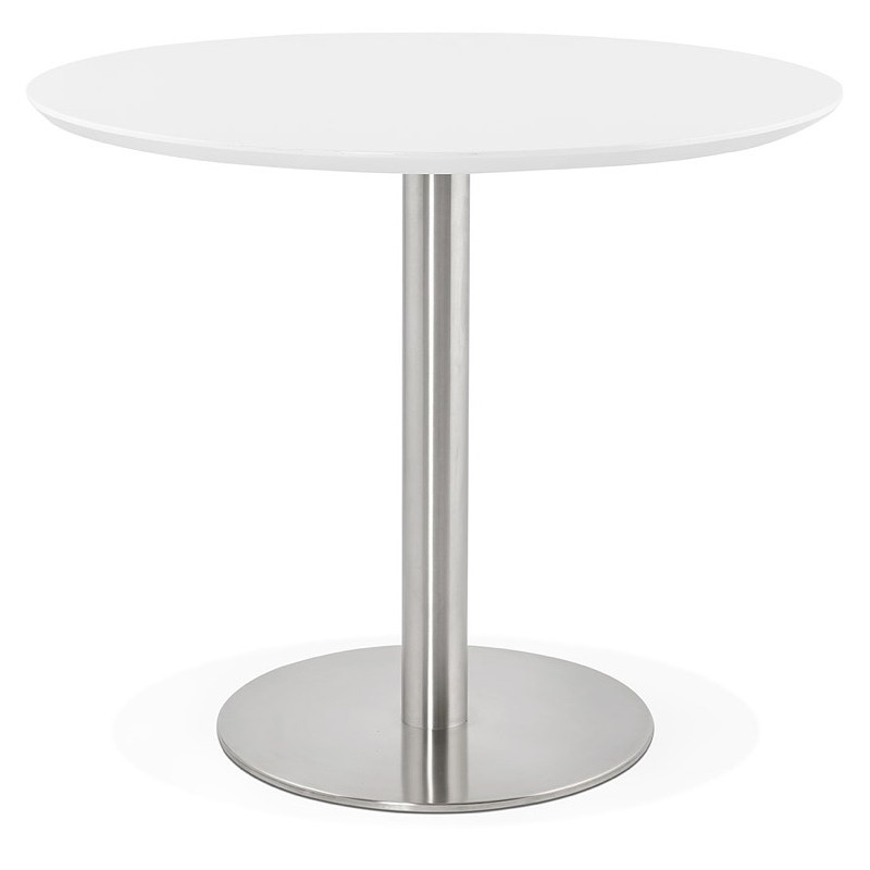 Round dining table design or Office COLINE in MDF and metal brushed (O 90 cm) (white, brushed steel) - image 39762