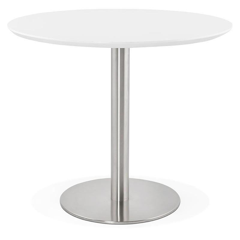 Runder Esstisch Design oder Büro COLINE aus MDF und Metall gebürstet (O 90 cm) (weiß, gebürstetem Stahl) - image 39762