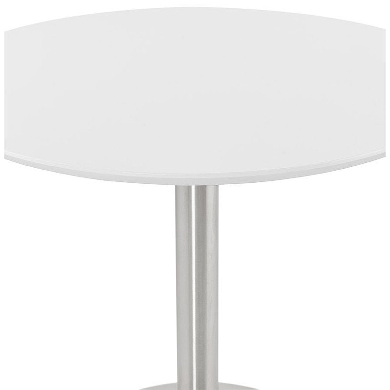 Round dining table design or Office COLINE in MDF and metal brushed (O 90 cm) (white, brushed steel) - image 39765