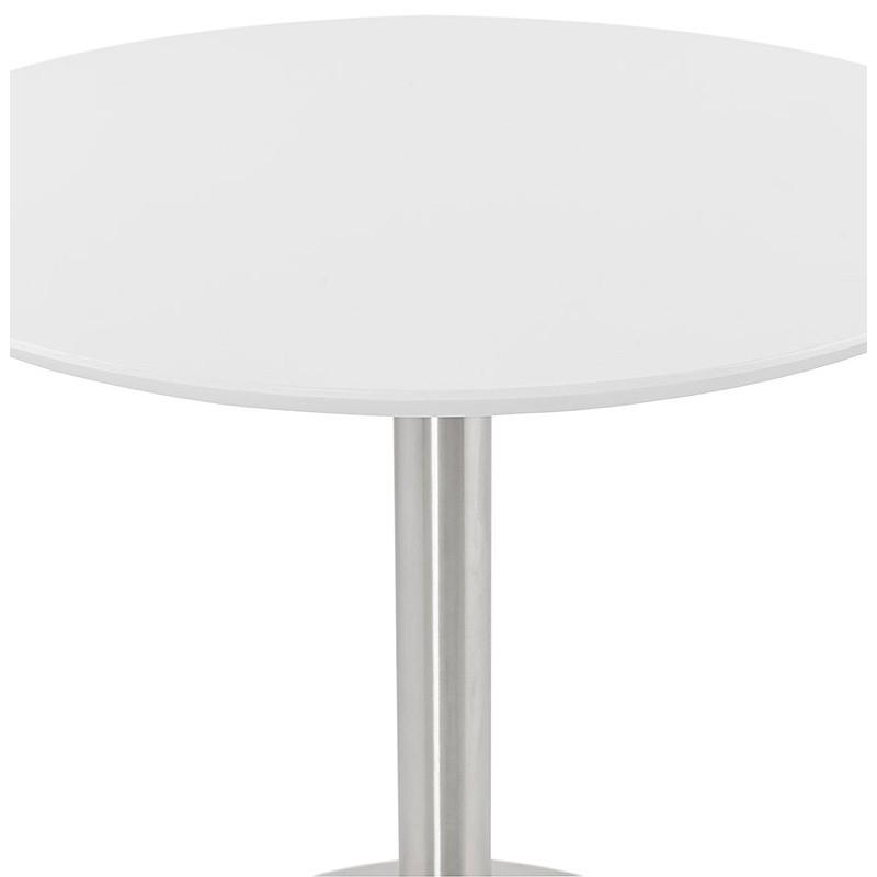 Runder Esstisch Design oder Büro COLINE aus MDF und Metall gebürstet (O 90 cm) (weiß, gebürstetem Stahl) - image 39765