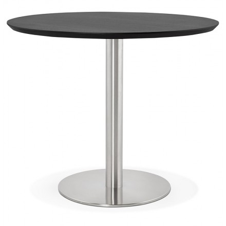 Round dining table design or Office COLINE in MDF and brushed metal (Ø 90 cm) (black, brushed steel)