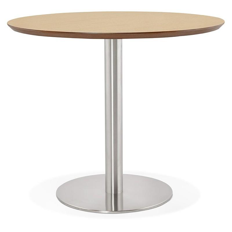 Mesa redonda de comedor de diseño u Oficina COLINE en MDF y cepillado (Ø 90 cm) de metal (acero natural, cepillado)