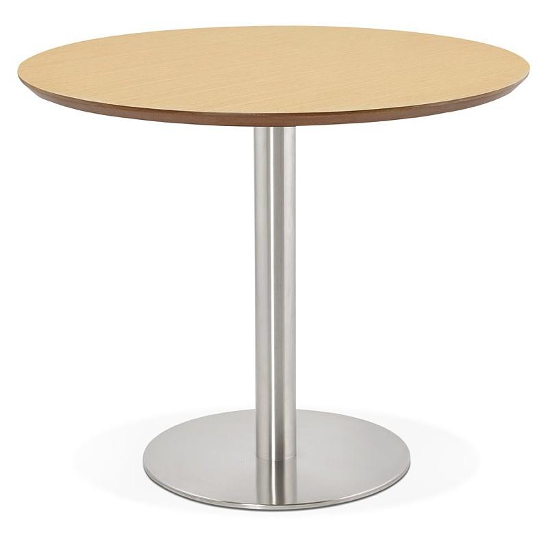 Table à manger ronde design ou bureau COLINE en MDF et métal brossé (Ø 90 cm) (naturel, acier brossé) - image 39787