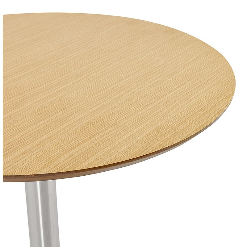 Table à manger ronde design ou bureau COLINE en MDF et métal brossé (Ø 90 cm) (naturel, acier brossé) - image 39790