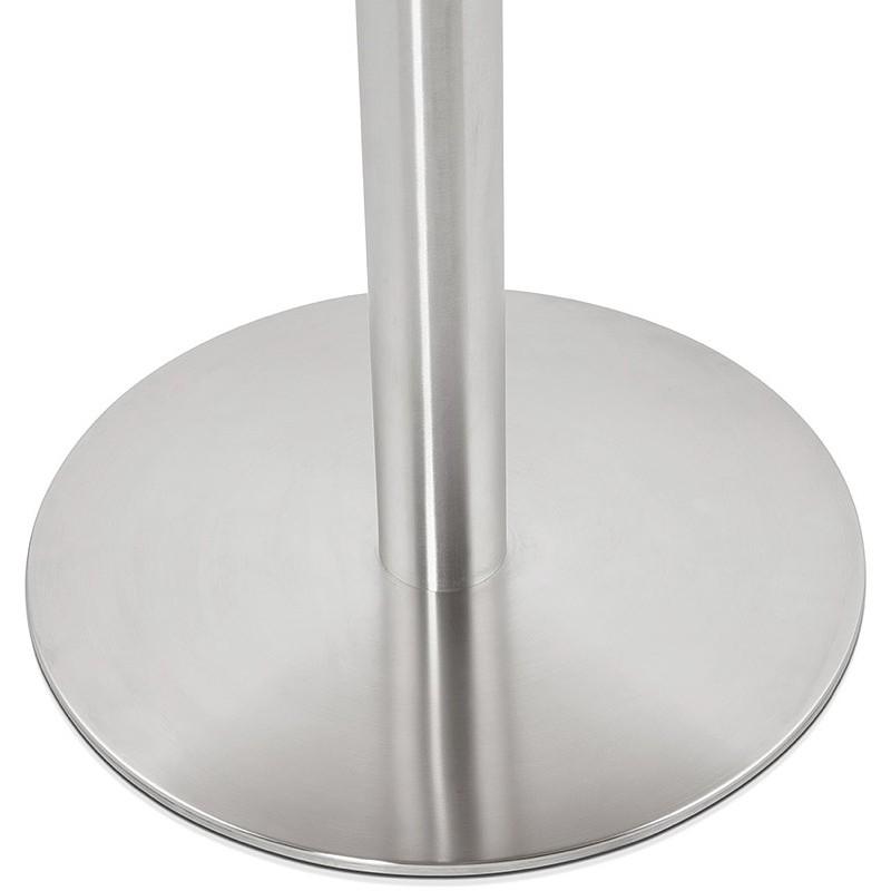 Table à manger ronde design ou bureau COLINE en MDF et métal brossé (Ø 90 cm) (naturel, acier brossé) - image 39792
